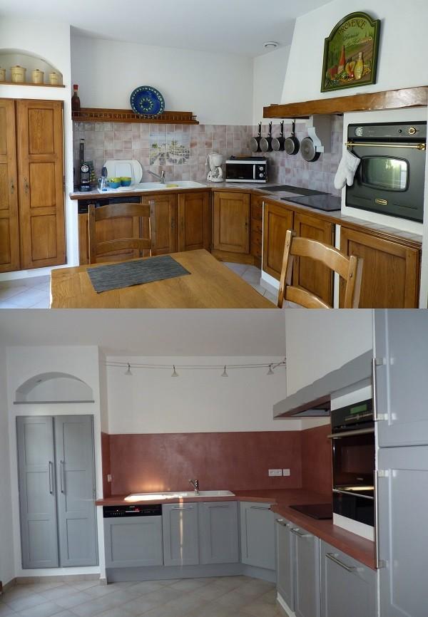 R alisations relook e en gris et b ton cir rouge terre for Recuperation de meubles a domicile